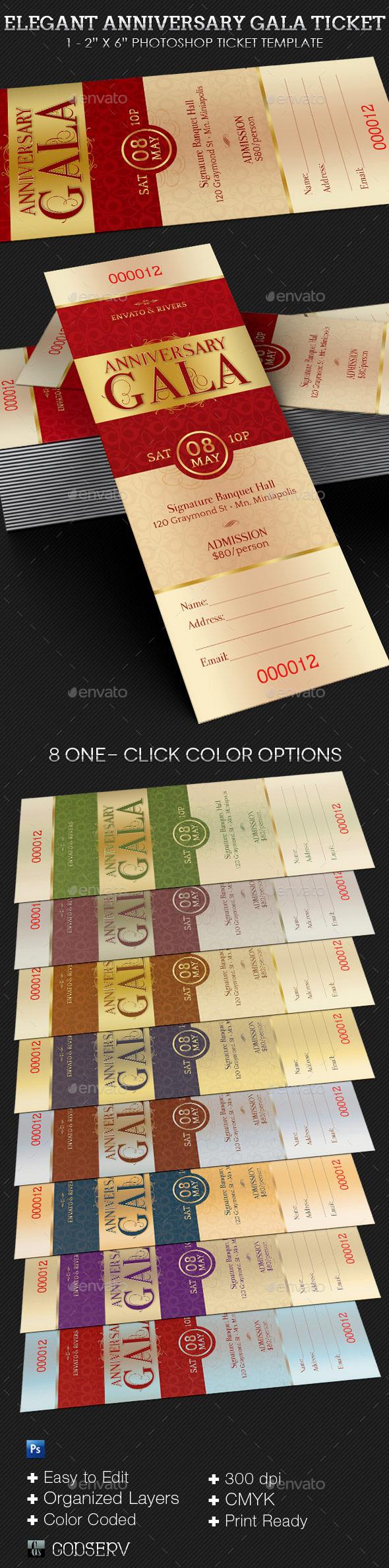 GraphicRiver Elegant Anniversary Gala Ticket Template 8989222