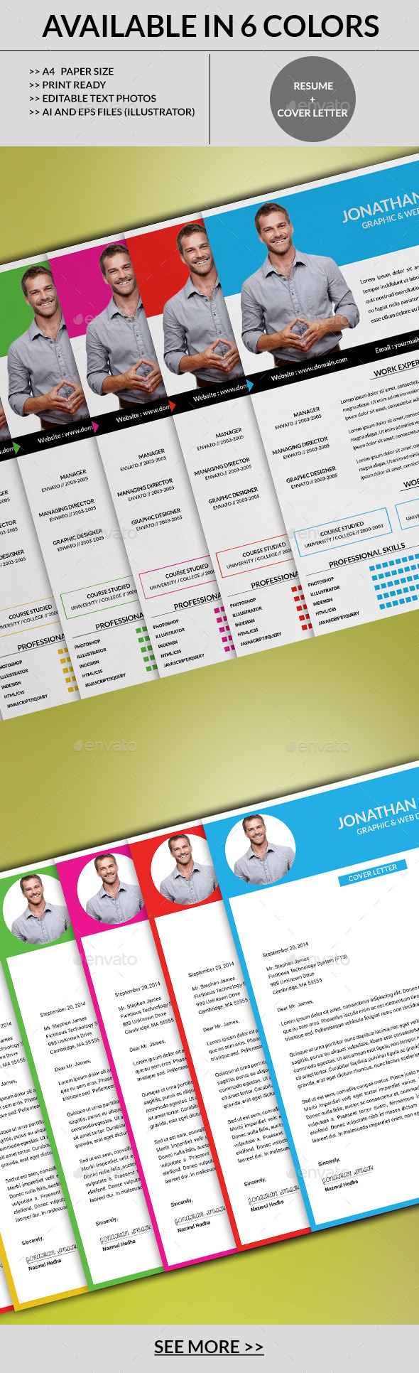 GraphicRiver 6 Color Varition Resume Set 8989254