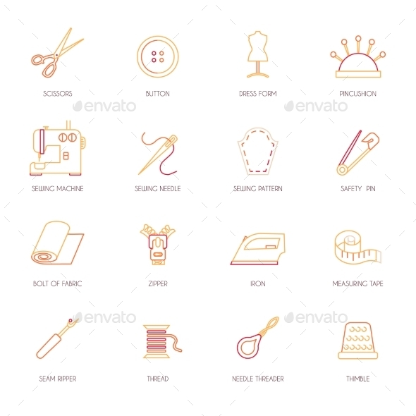 GraphicRiver Sewing Equipment Icons Set Flat Line 8989285