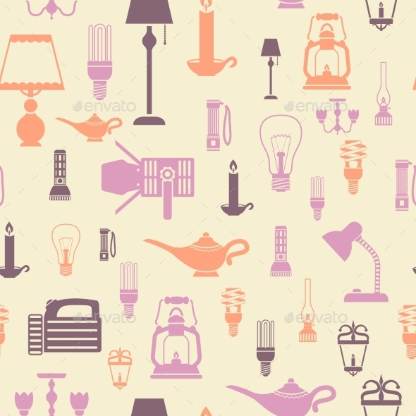 GraphicRiver Flashlight and Lamps Seamless Pattern 8989287