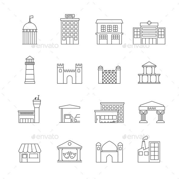 GraphicRiver Government Buildings Icons 8989288