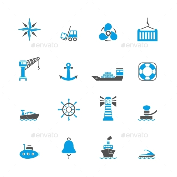 GraphicRiver Sea Port Icons Set 8989290