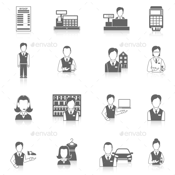 GraphicRiver Set Icons Salesman Black 8989307