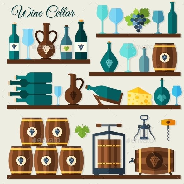 GraphicRiver Wine Cellar Icons 8989311