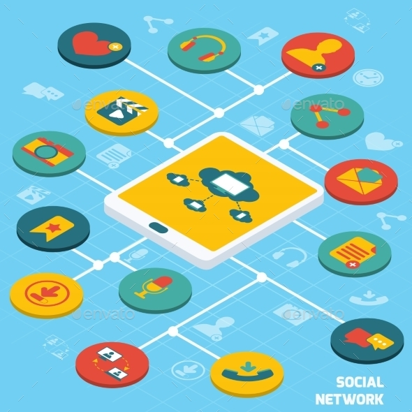 GraphicRiver Social Network Isometric 8989314