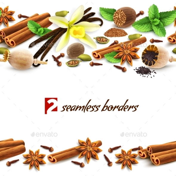 GraphicRiver Spices Seamless Borders 8989317