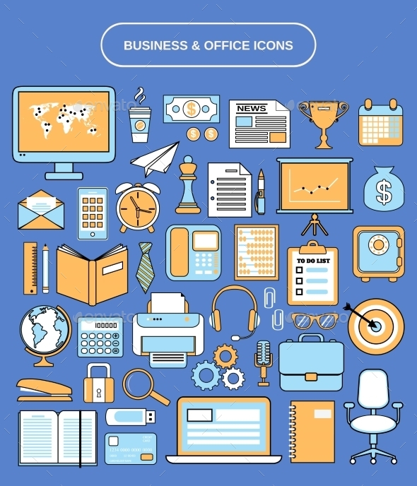 GraphicRiver Office Icons Set 8989326