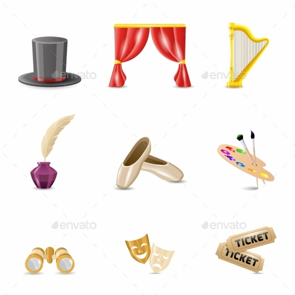 GraphicRiver Theatre Realistic Icons 8989343