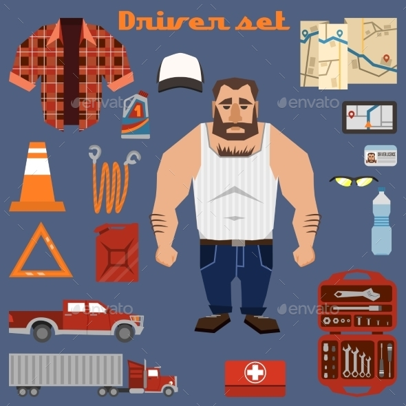 GraphicRiver Driver Character Elements 8989354