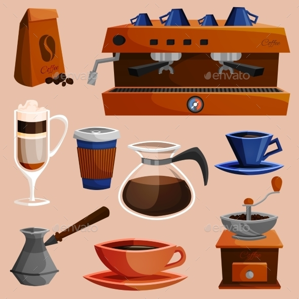 GraphicRiver Coffee Elements Set 8989358