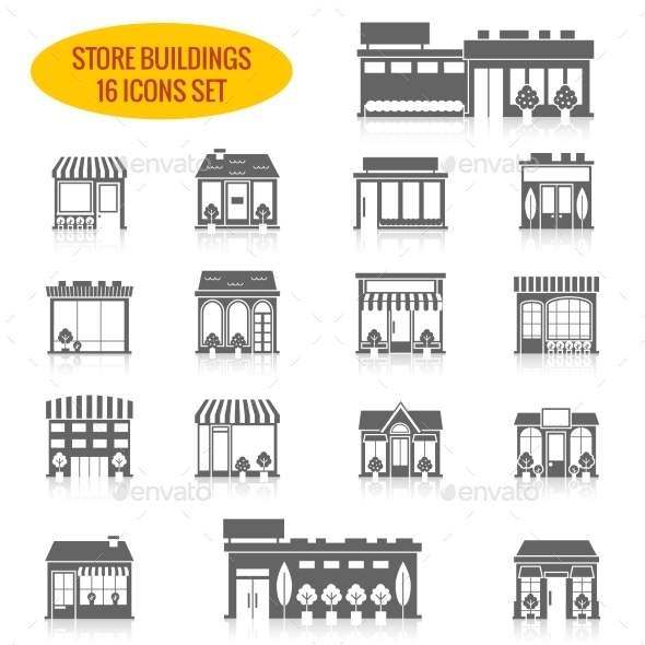 GraphicRiver Store Building Icons Set Black 8989359