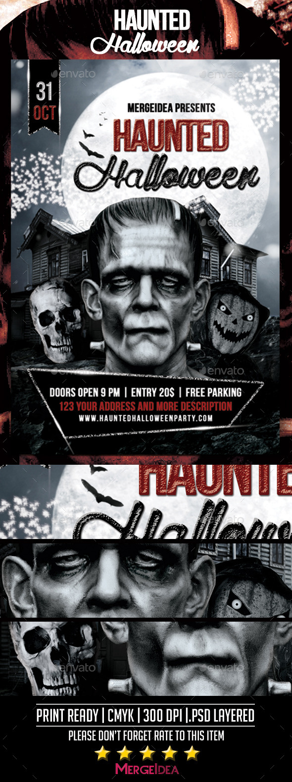 GraphicRiver Haunted Halloween Party Flyer 8989369