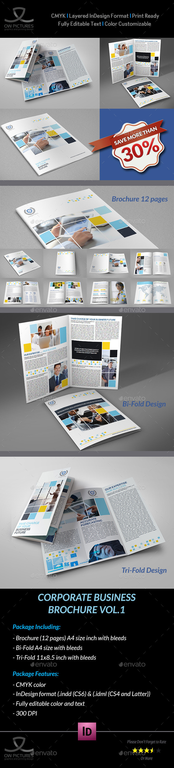 Company brochure bundle vol 1 graphicriver for Tri fold brochure template indesign cs6