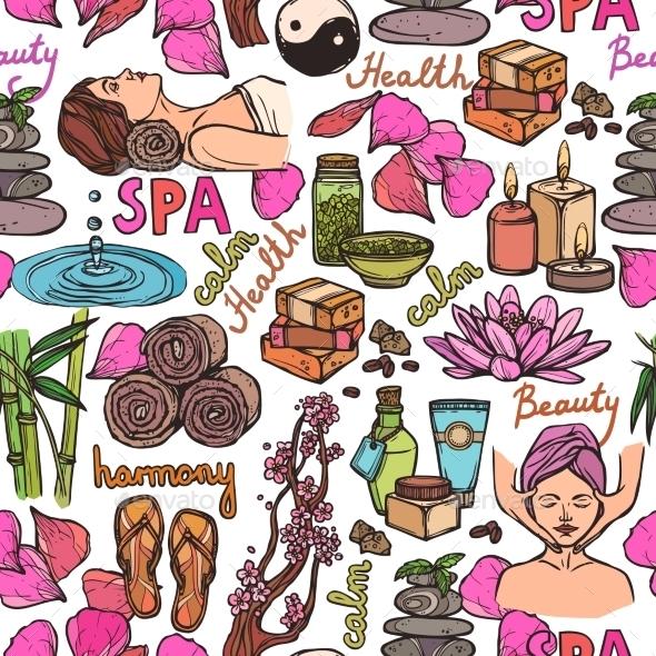 GraphicRiver Spa Sketch Seamless Pattern Color 8989388