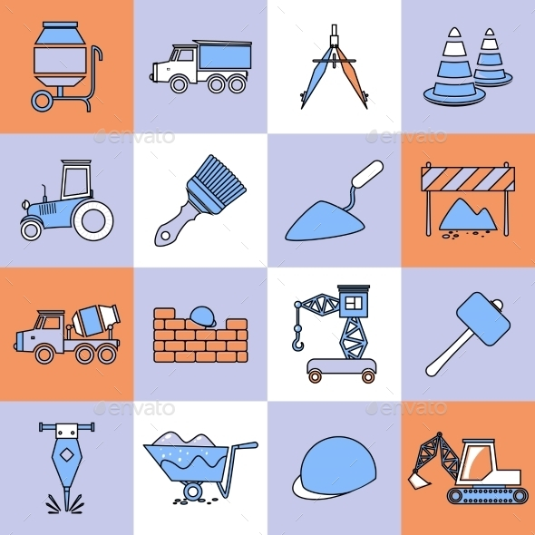 GraphicRiver Construction Icons Set Flat Line 8989394