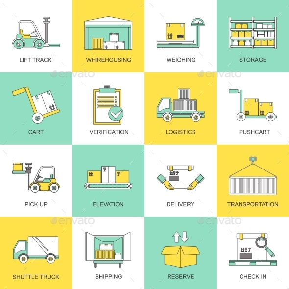 GraphicRiver Warehouse Icons Flat Line 8989417
