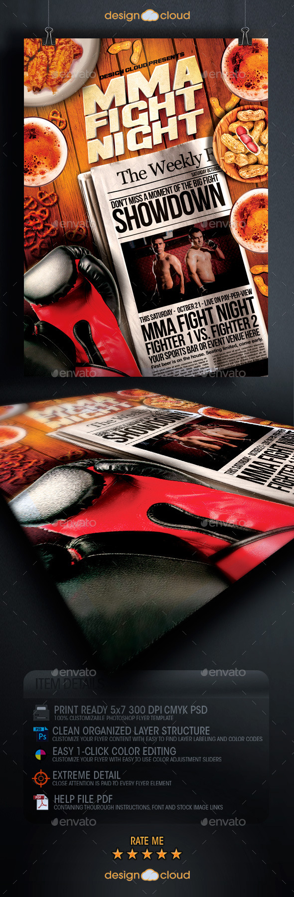 GraphicRiver MMA Fight Night Headliner Flyer Template 8989443