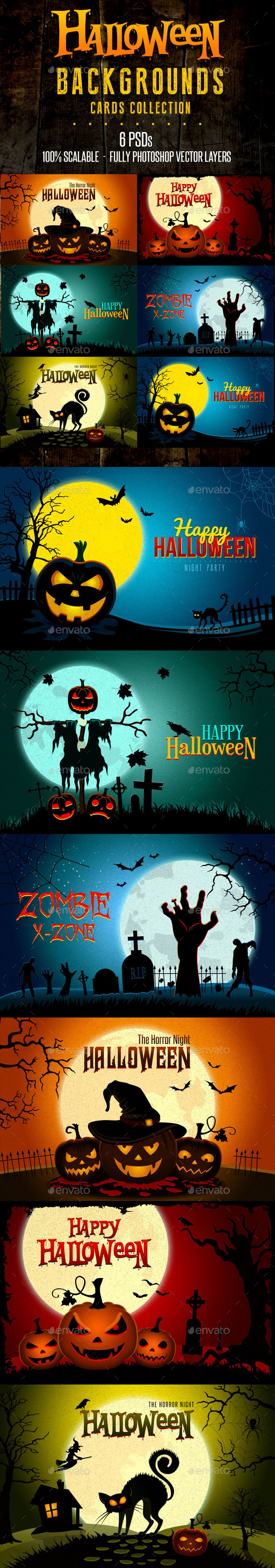 GraphicRiver Halloween Landscapes Backgrounds Cards 8989460