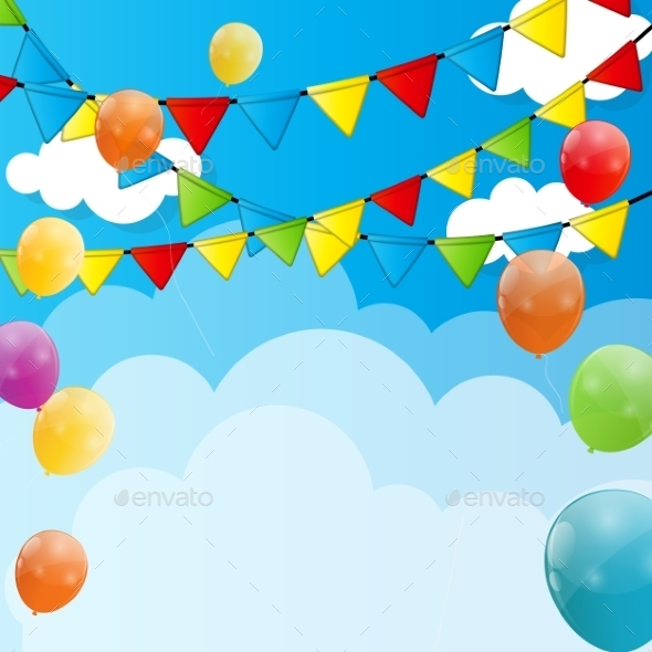 GraphicRiver Color Glossy Balloons Background Vector Illustration 8989508