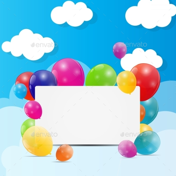 GraphicRiver Color Glossy Balloons Background Vector Illustration 8989510