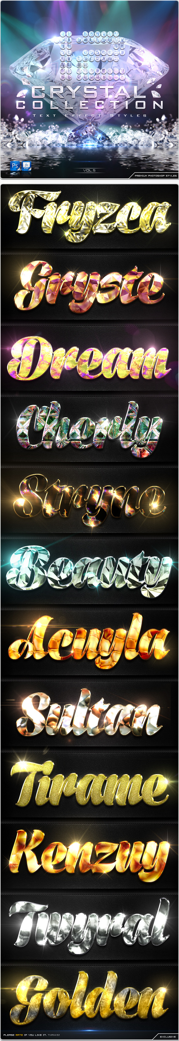 GraphicRiver 12 Crystal Collection Text Effect Styles Vol.5 8989720