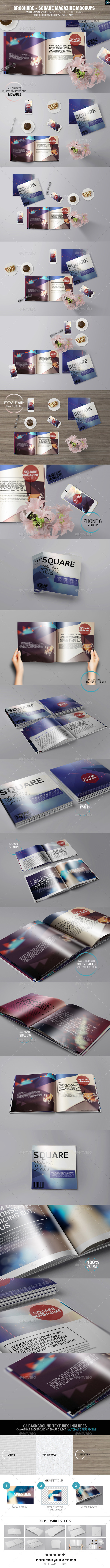 GraphicRiver Brochure Square Magazine Mockups 8989728