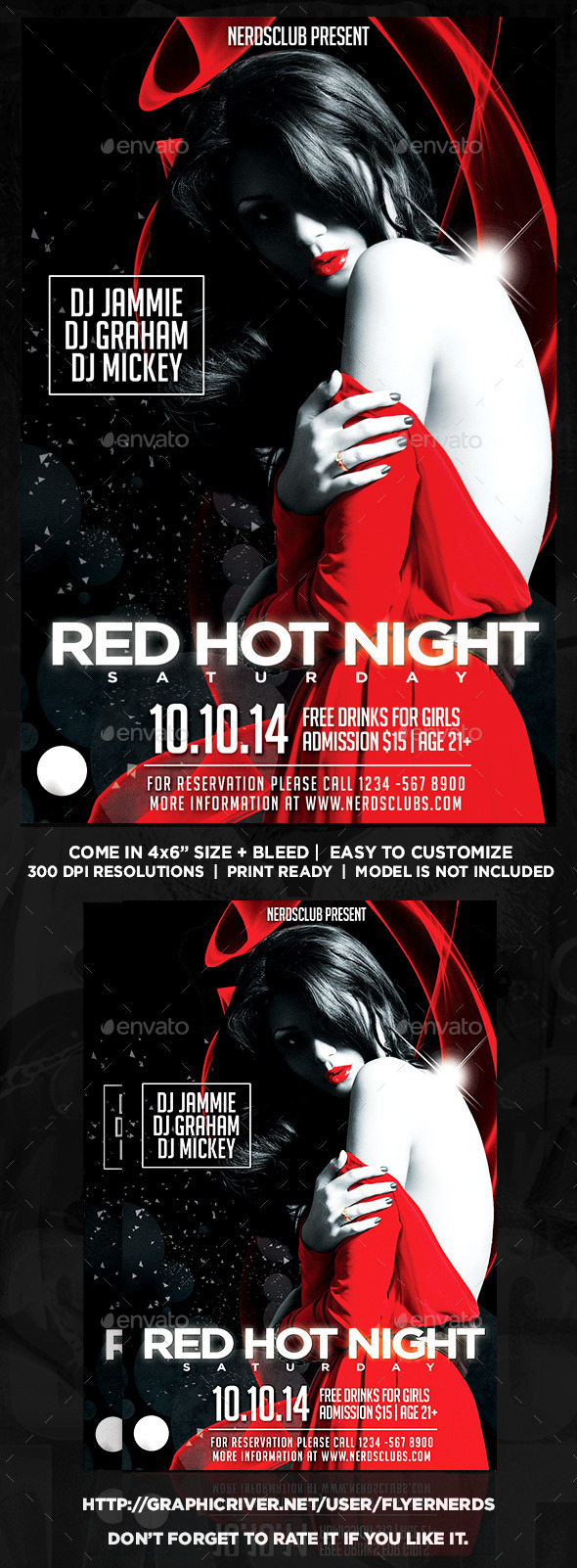 GraphicRiver Red Hot Night Party Flyer 8989911