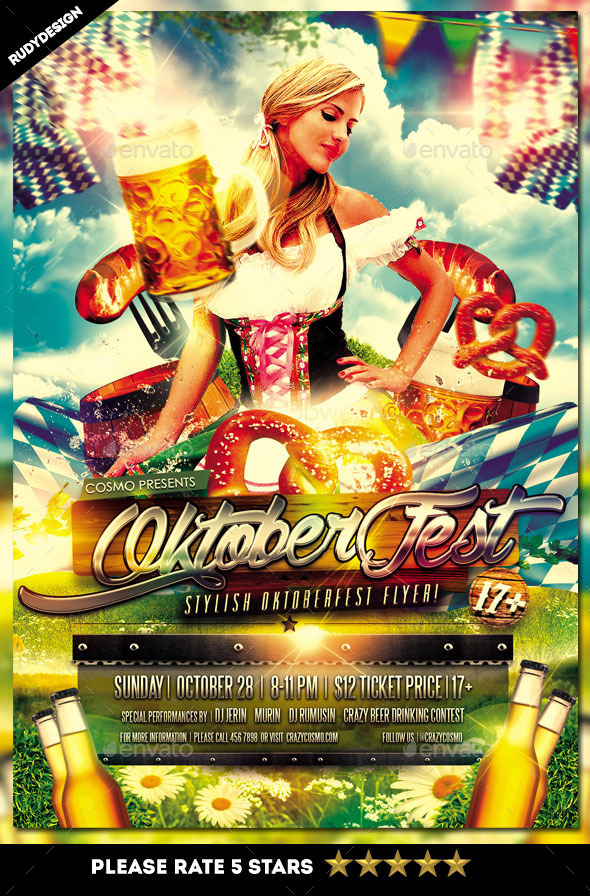 GraphicRiver Oktoberfest Party Stylish Flyer Template 8989913