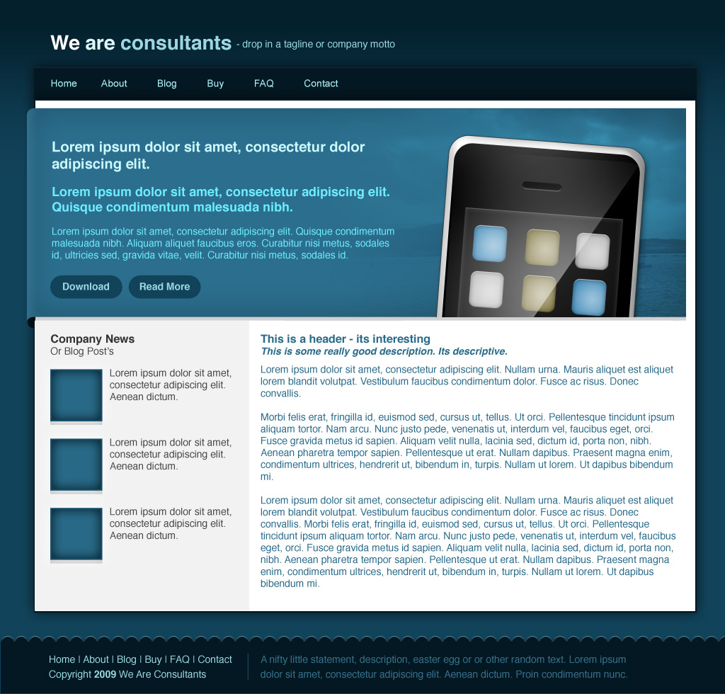 Agency Site - Blue - Here we have the Homepage design. The theme includes 4 photos for your use (taken by me) and an iphone vector created using photoshop (created by me). You have 100% permission to use these files on anything you like.