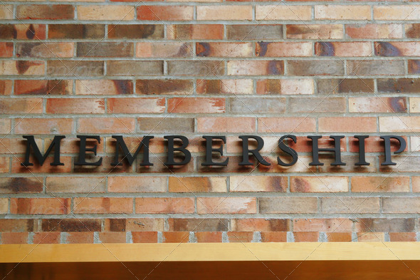 Membership Sign on Brick Wall - Stock Photo - Images