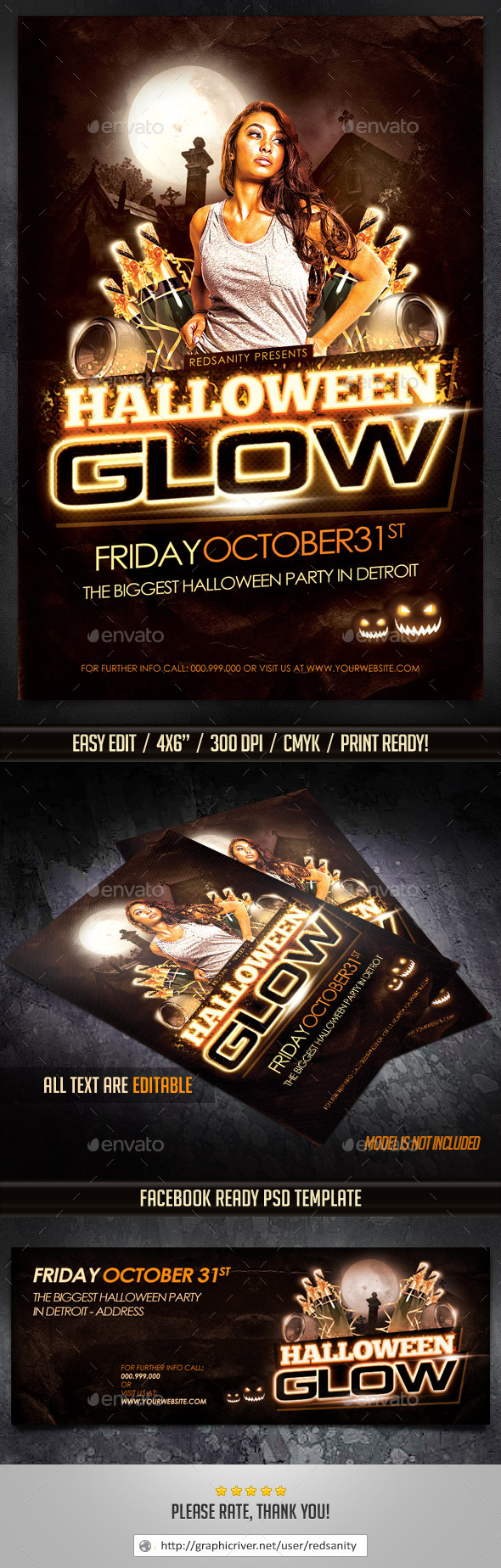 GraphicRiver Halloween Glow Flyer Plus FB Cover 8975983