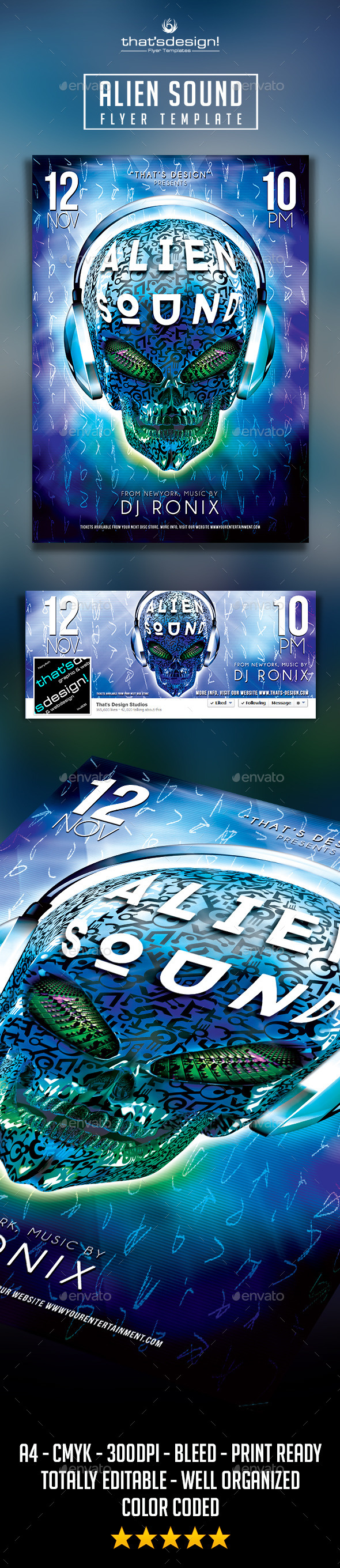 Alien Sound Flyer Template - Clubs & Parties Events
