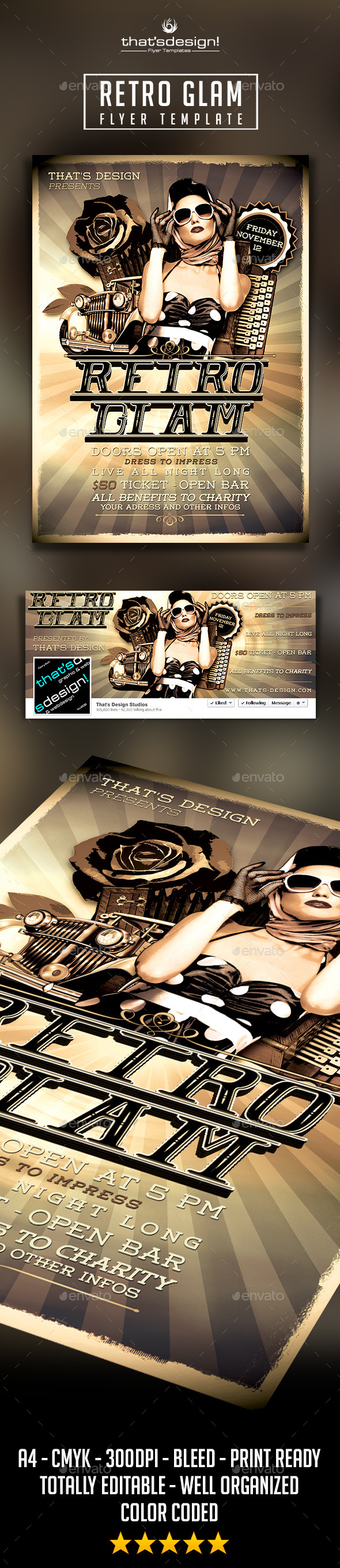 Retro Glam Flyer Template - Clubs & Parties Events