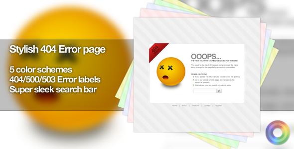 Stylish 404 error page - 5 color schemes