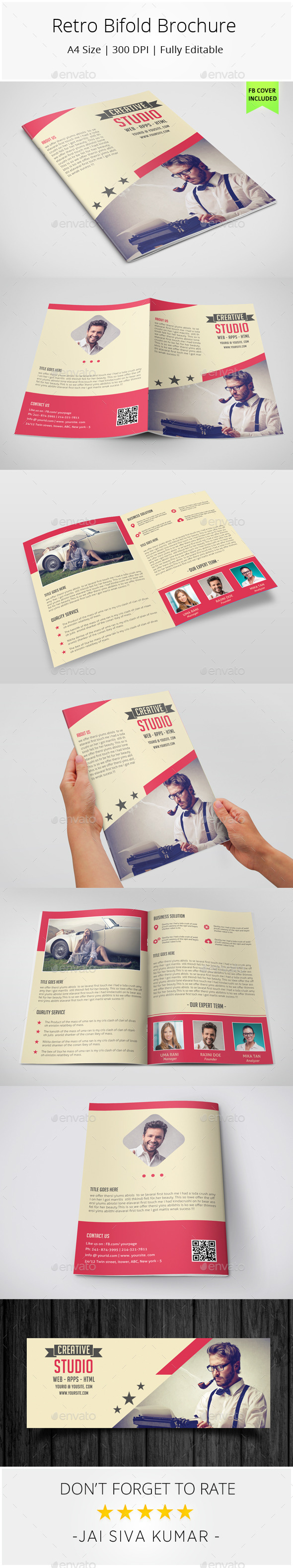 GraphicRiver Retro Bifold Brochure 8980365