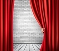 Background with red velvet curtain and hand. - PhotoDune Item for Sale
