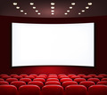 Cinema with white screen and seats. - PhotoDune Item for Sale