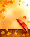 Retro autumn background with colorful leaves and an umbrella. - PhotoDune Item for Sale