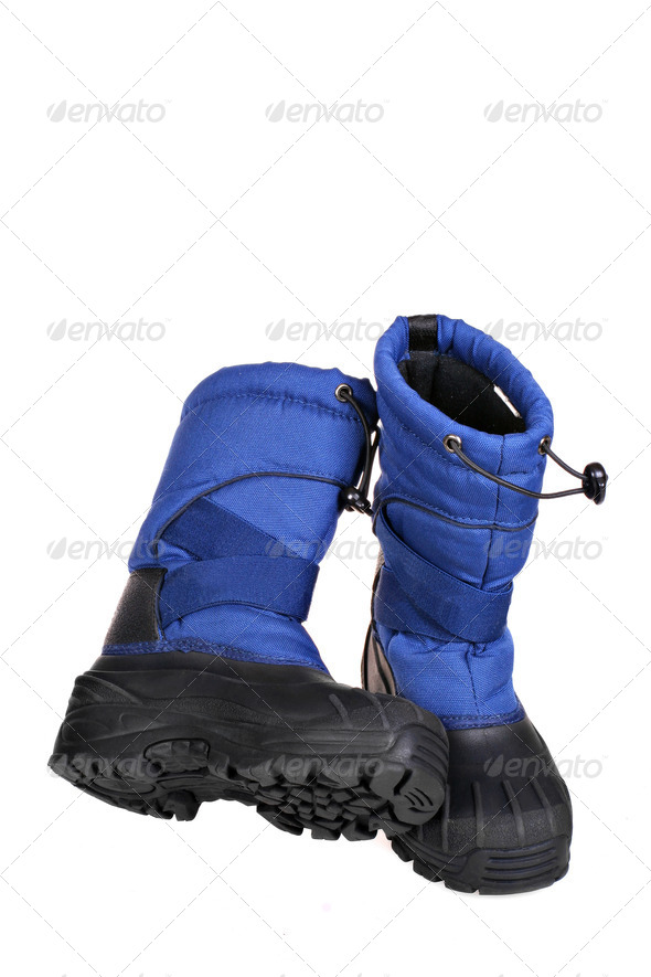Blue Snow Boots - Stock Photo - Images