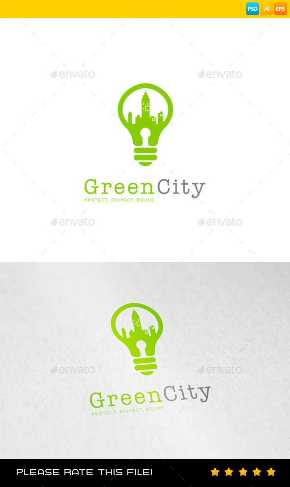 GraphicRiver Green City Logo 8991790