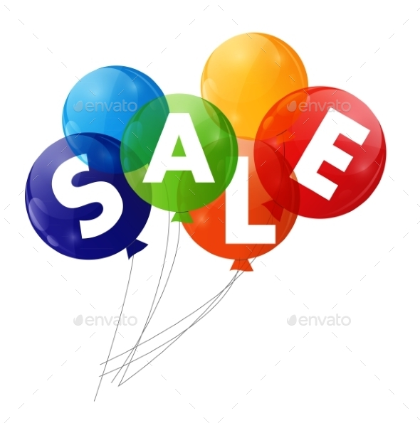 GraphicRiver Color Glossy Balloons Sale Concept of Discount 8992206