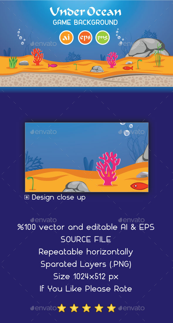 GraphicRiver Under Ocean Game Background 8992847