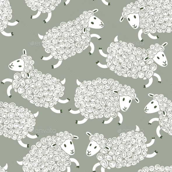 GraphicRiver Seamless Pattern with Sheep 8992936
