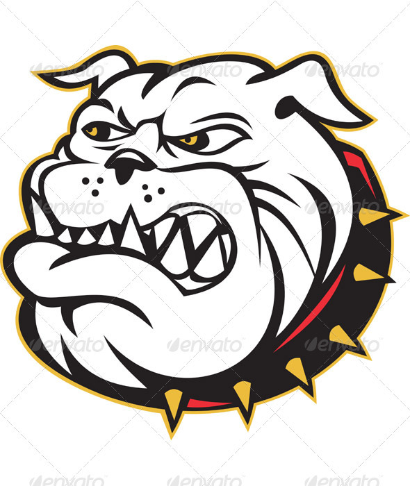 Angry Bulldog Dog Head Mascot