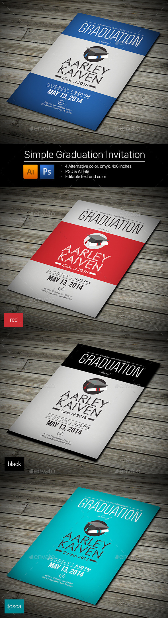 GraphicRiver Simple Graduation Invitation 8993243