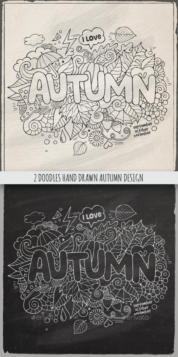 GraphicRiver 2 Autumn Doodles Designs 8993479