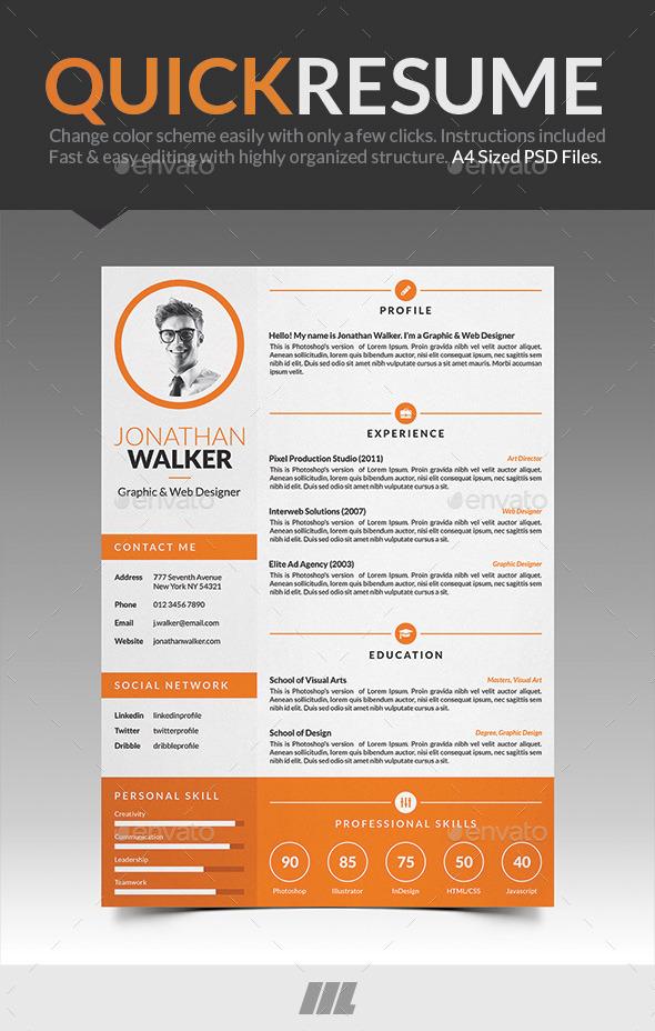 GraphicRiver Quick Resume CV 8993699