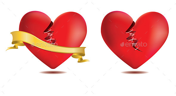 GraphicRiver Broken Red Heart with Gold Ribbon 8993769
