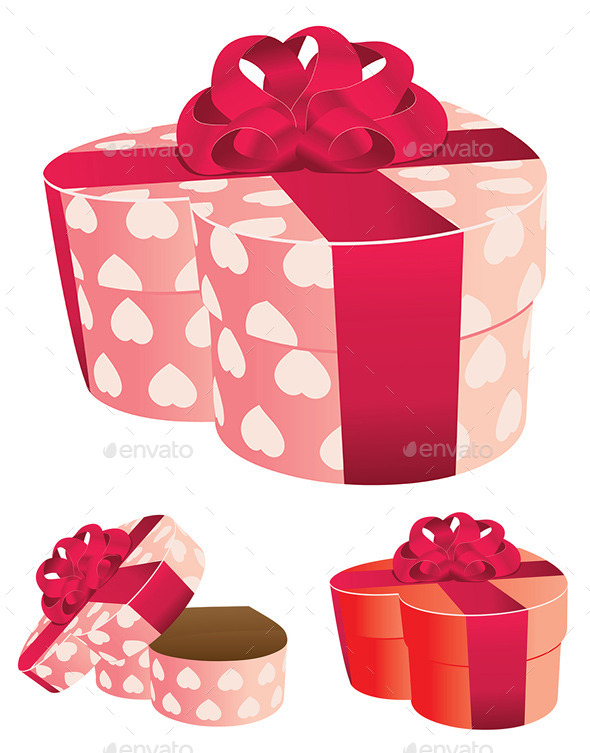 GraphicRiver Heart Shaped Pink Gift Box 8993776