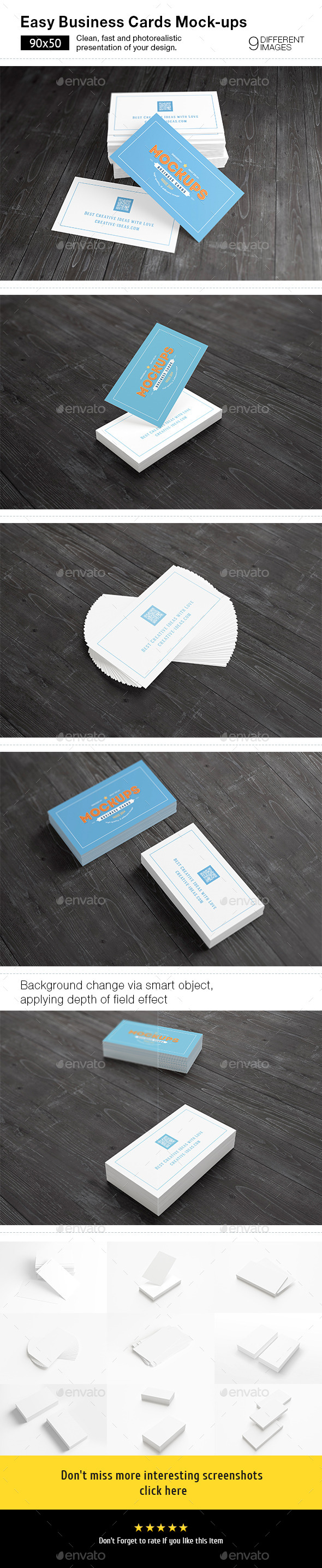 [90x50] Business Cards Mock-ups